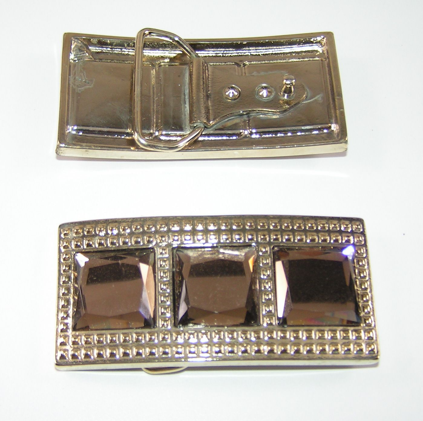 Gürtelschnalle Schließe Schnalle mit Strasssteine 2,4 cm silber NEUWARE rostfrei