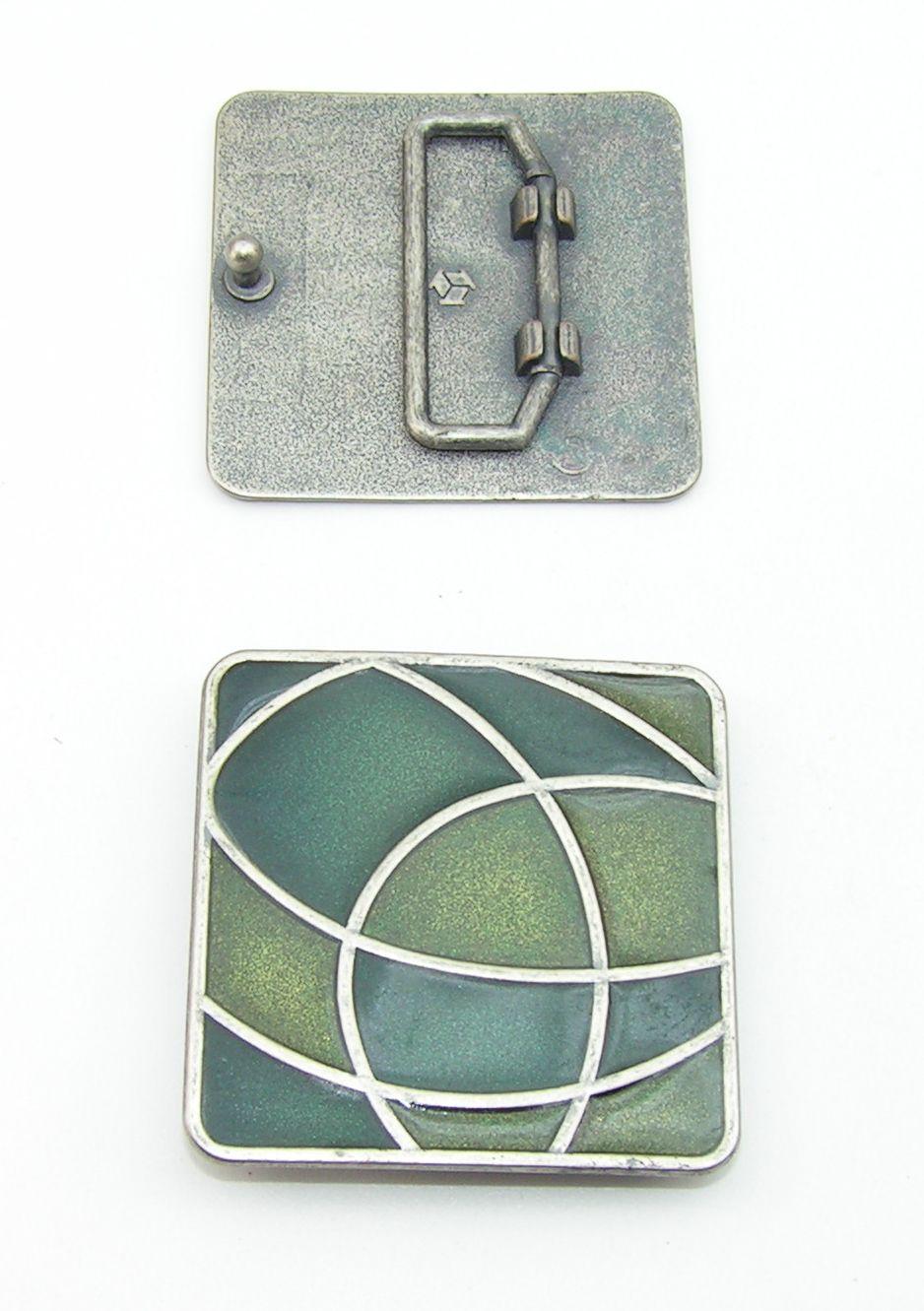 1 Schließe Gürtelschnalle 3 cm altsilber grün Lack 03.50//989