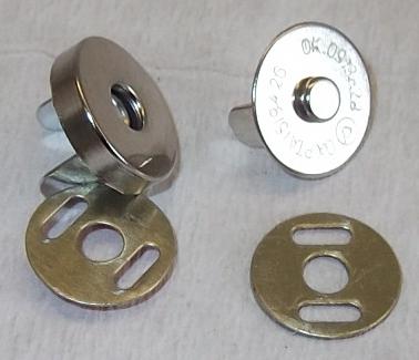 5//25//50 Stück Magnetverschluss Magnetknopf 15mm silber